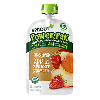 Sprout Power Pak Superblend with Apple Apricot Strawberry Organic Toddler Puree,4 oz