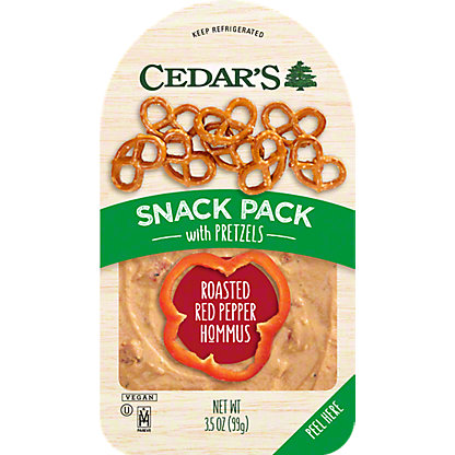 Cedar's Roasted Red Pepper Hummus Snack Pack with Pretzels,3.5OZ