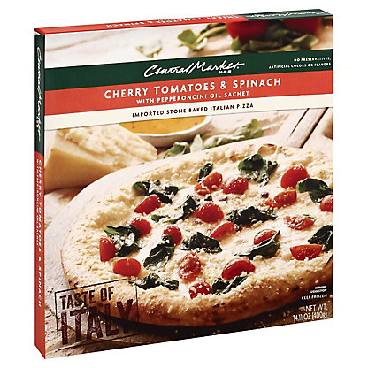 Central Market Central Market Cherry Tomatoes & Spinach with Pepperoncini Oil Sachet Pizza,14.11 oz