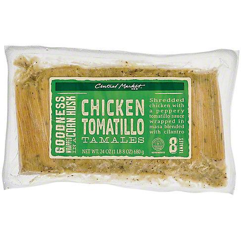 Central Market Chicken Tomatillo Tamales, 8 CT