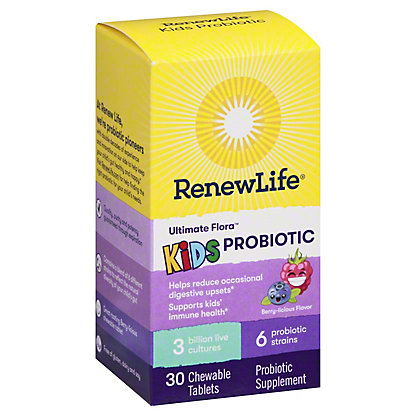 Renew Life Ultimate Flora Kids Probiotics Chewable Tablets Berry-Licious Taste, 30 ct
