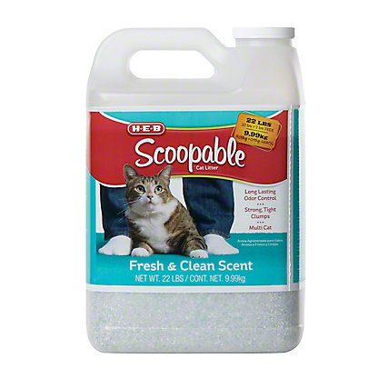 H-E-B Scoopable Fresh & Clean Scented Litter, 22 lbs
