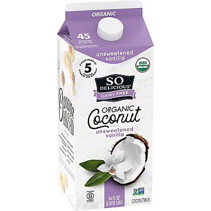 So Delicious Dairy Free Unsweetened Vanilla Coconut Milk Beverage, 1/2 gal