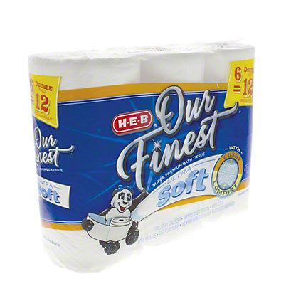 H-E-B Our Finest Ultra Soft Bath Tissue Double Rolls, 6 ct