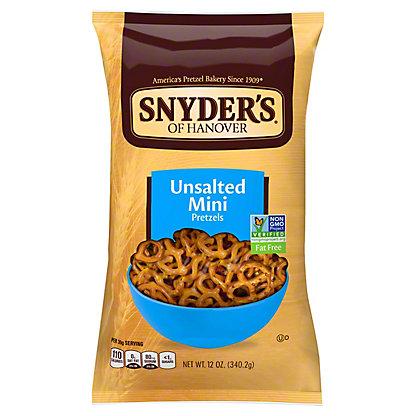 Snyder's of Hanover Unsalted Mini Pretzels,12 OZ