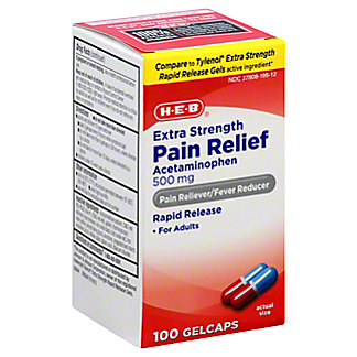 H-E-B Pain Relief Extra Strength 500 mg Gelcaps, 100 ct