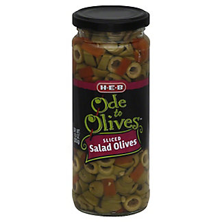 H-E-B Ode to Olives Sliced Salad Green Olives, 10 oz