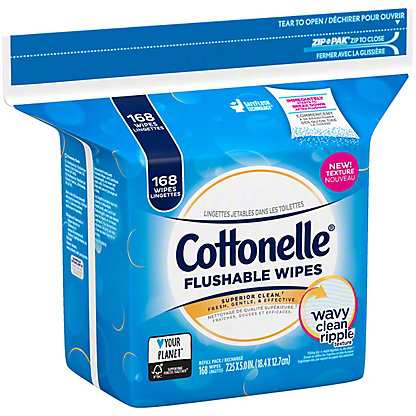 Cottonelle FreshCare Flushable Cleansing Cloths Refill, 168 ct