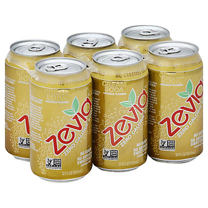 Zevia Cream Soda Soda 6 PK Cans, 12 oz
