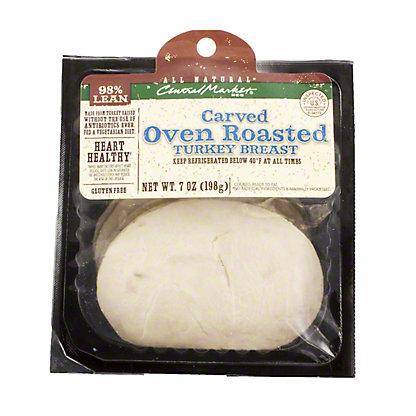 Central Market Natural Oven Roasted Turkey Breast, 7 OZ Carved Oven Roasted Turkey Breast Slices.,7 OZ