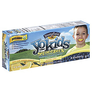 Stonyfield Organic YoKids Squeezers Blueberry & Lemonade Yogurt,8 CT