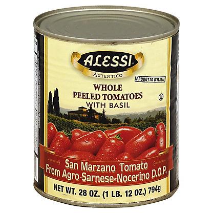 Alessi Autentico Whole Peeled Tomatoes with Basil,28 OZ