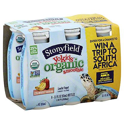 Stonyfield Farm Organic Yokids Smoothie Strawbana, 6.00 ea
