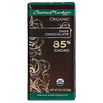 Central Market Organic 85% Cacao Dark Chocolate, 3.16 oz