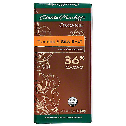 Central Market Organic 36% Cacao Toffee & Seal Salt Milk Chocolate, 3.16 oz
