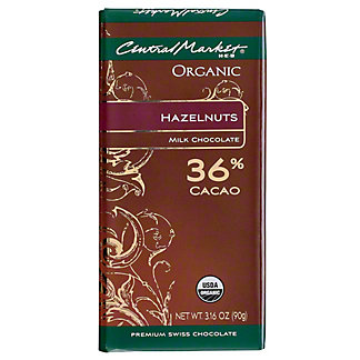 Central Market Organic 36% Cacao Milk Chocolate With Hazelnuts, 3.16 oz