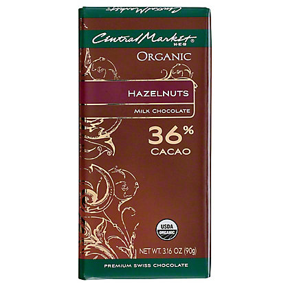 Central Market Organic 36% Cacao Milk Chocolate With Hazelnuts, 3.16 oz