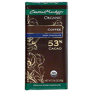 Central Market Organic 53% Cacao Dark Chocolate With Coffee, 3.16 oz