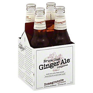 Bruce Cost Ginger Ale Pomegranate Hibiscus 12 oz Bottles, 4 pk