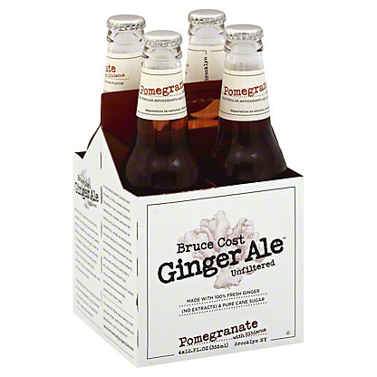 Bruce Cost Ginger Ale Pomegranate Hibiscus 12 oz Bottles, 4 pk