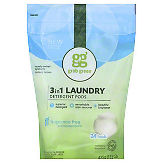 Grab Green Fragrance Free 3 In 1 Laundry Detergent 24,15.2OZ