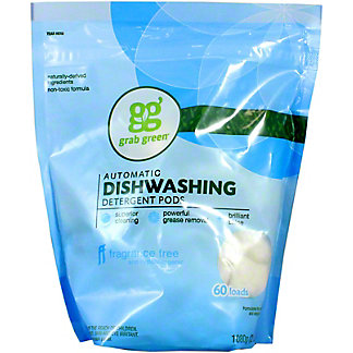 Grab Green Fragrance Free Auto Dishwashing Detergent 60 Loads, 36 oz