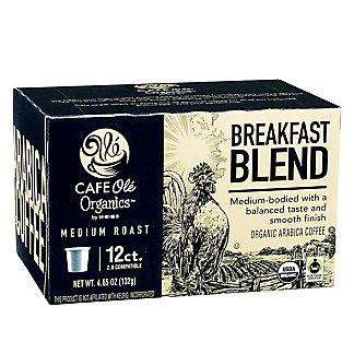 H-E-B Cafe Ole Organics Breakfast Blended Medium Roast Single Serve Coffee Cups,12.00 ea
