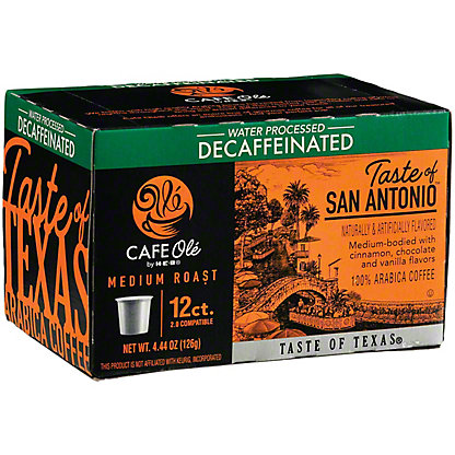 H-E-B Cafe Ole Taste of San Antonio Medium Roast Decaf Single Serve Coffee Cups,12 ct