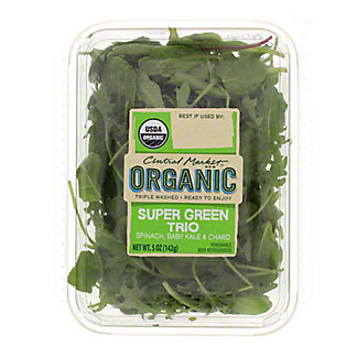 Central Market Organics Super Green Trio Spinach, Chard And Kale, 5 oz