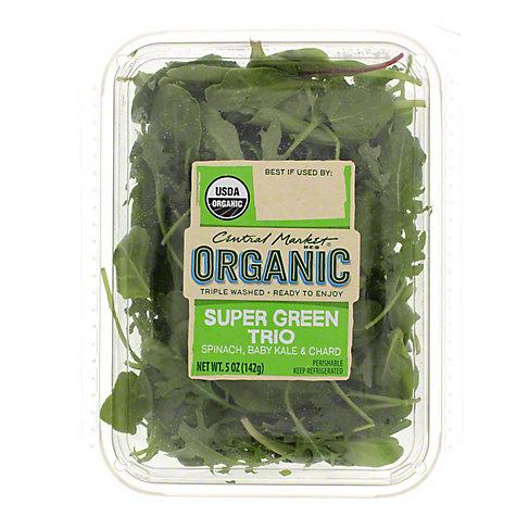 Central Market Organics Super Green Trio Spinach, Chard And Kale, 5 OZ