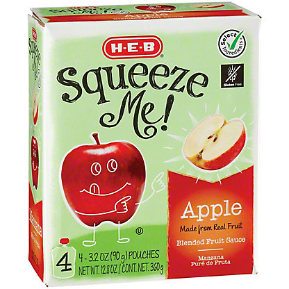 H-E-B Select Ingredients Squeeze Me! Sweet Apple Sauce Pouches, 4 ct
