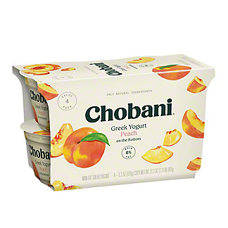Chobani Greek Non-Fat Peach on the Bottom Yogurt, 4 ct