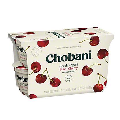 Chobani Non-Fat Black Cherry on the Bottom Greek Yogurt, 4 ct