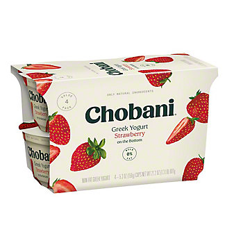 Chobani Non-Fat Strawberry on the Bottom Greek Yogurt, 4 ct