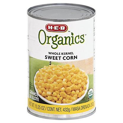 H-E-B Organics Whole Kernel Sweet Corn,15.25 OZ