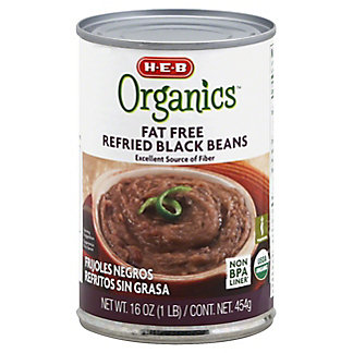 H-E-B Organics Fat Free Refried Black Beans,16 OZ
