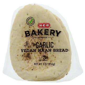 H-E-B Select Ingredients Garlic Vegan Naan Bread, 9 OZ