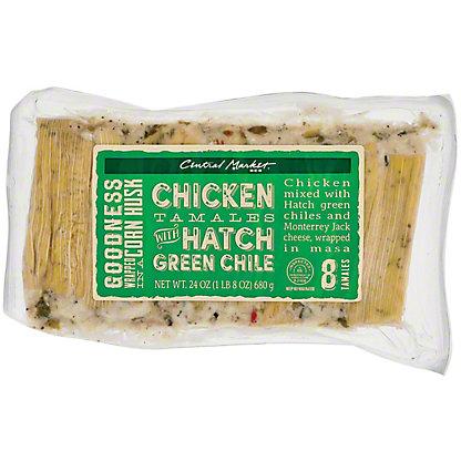 Central Market Tamales Chicken Hatch,8 CT