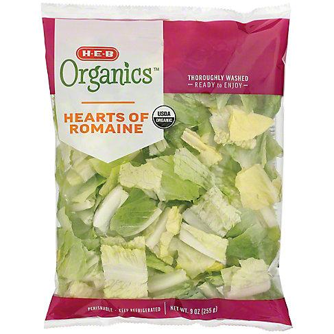 H-E-B Organics Hearts Of Romaine Lettuce, 9 OZ