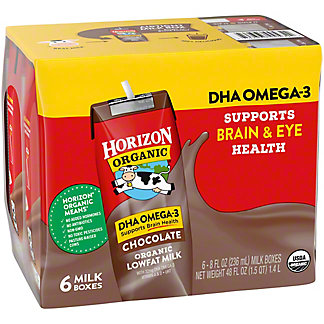 Horizon Organic Chocolate DHA Omega-3 Lowfat Milk, 6 ea