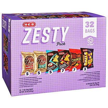 H-E-B Zesty Chips Variety Pack, 32 ct