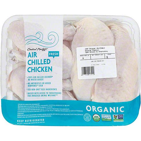 Central Market Organic Air Chilled Chicken, Split Breast & Drumsticks