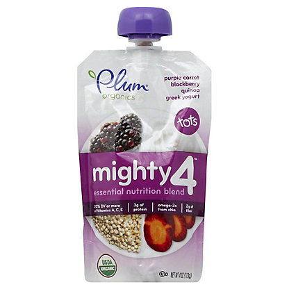 Plum Organics Tots Mighty 4 Purple Carrot, Blackberry, Quinoa & Greek Yogurt,4 OZ
