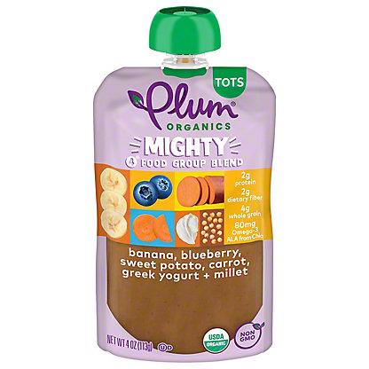 Plum Organics Mighty 4 Sweet Potato, Blueberry, Millet and Greek Yogurt Baby Food,4 OZ