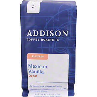 Addison Coffee Mexican Vanilla Natural Decaf Whole Bean, 12 oz