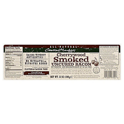 Central Market Natural Cherrywood Smoked Bacon, 12 oz