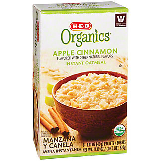 H-E-B Organics Apple Cinnamon Instant Oatmeal, 8 ct