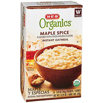 H-E-B Organics Maple Spice Instant Oatmeal, 8 ct