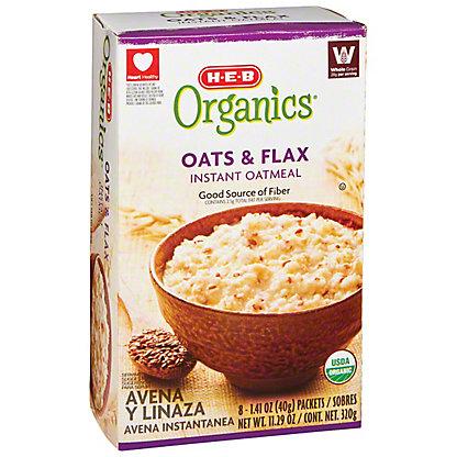 H-E-B Organics Oats & Flax Instant Oatmeal, 8 ct