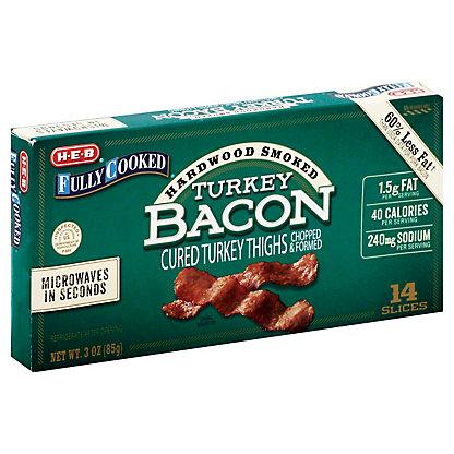 H-E-B Fully Cooked Hardwood Smoked Turkey Bacon,3 OZ